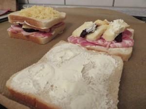 Préparation - croque-monsieur au bacon et reblochon