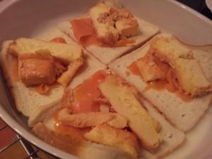 Préparation_Welsh au saumon fumé et maroilles