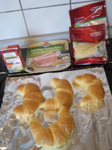 Ingrédients - Croissants au jambon, béchamel et fromage